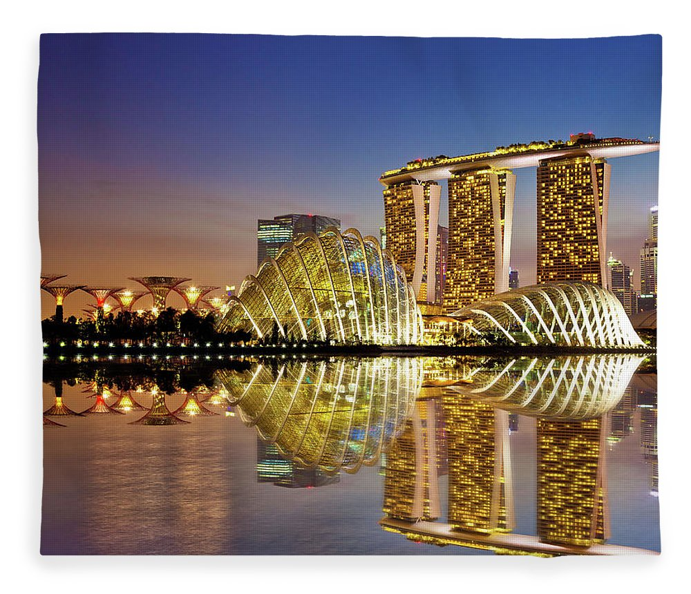 Outdoors Fleece Blanket featuring the photograph Gardens By Bay by Seng Chye Teo
