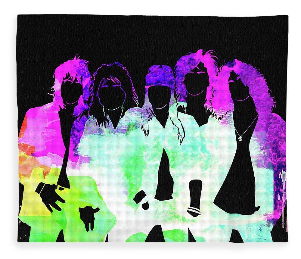 Guns N' Roses Fleece Blanket featuring the mixed media Guns N' Roses Watercolor by Naxart Studio