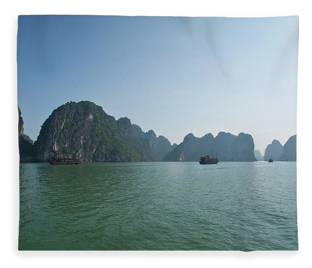 Scenics Fleece Blanket featuring the photograph Ha Long Bay by By Thomas Gasienica