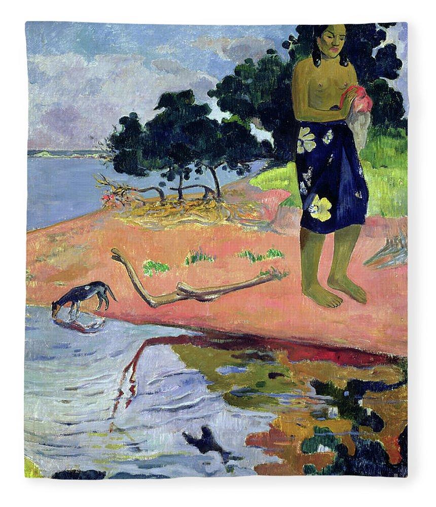 Gauguin Fleece Blanket featuring the painting Haere Pape, 1892 by Paul Gauguin