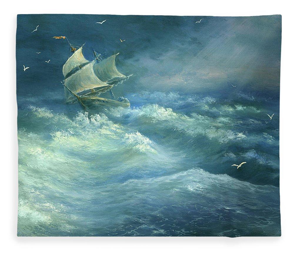 Curve Fleece Blanket featuring the digital art Heavy Gale by Pobytov
