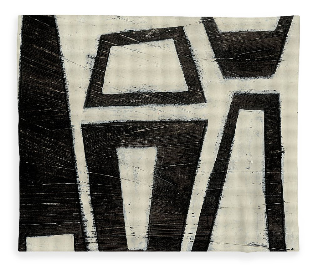 Abstract Fleece Blanket featuring the painting Hieroglyph Vii by June Erica Vess