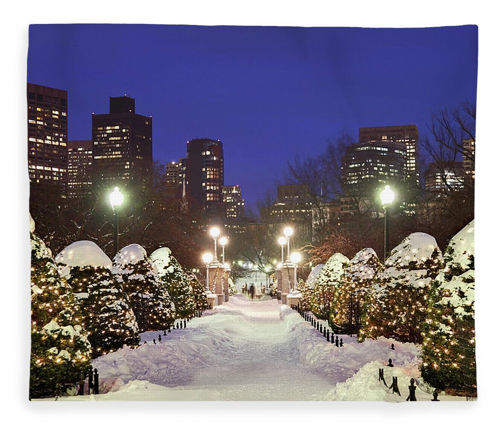 Downtown District Fleece Blanket featuring the photograph Holidays In Boston by Denistangneyjr
