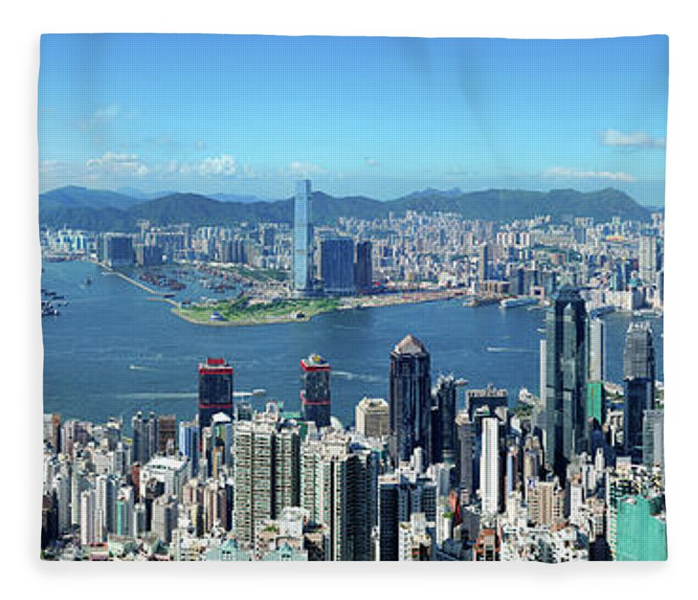 Corporate Business Fleece Blanket featuring the photograph Hong Kong Victoria Harbor At Day by Samxmeg
