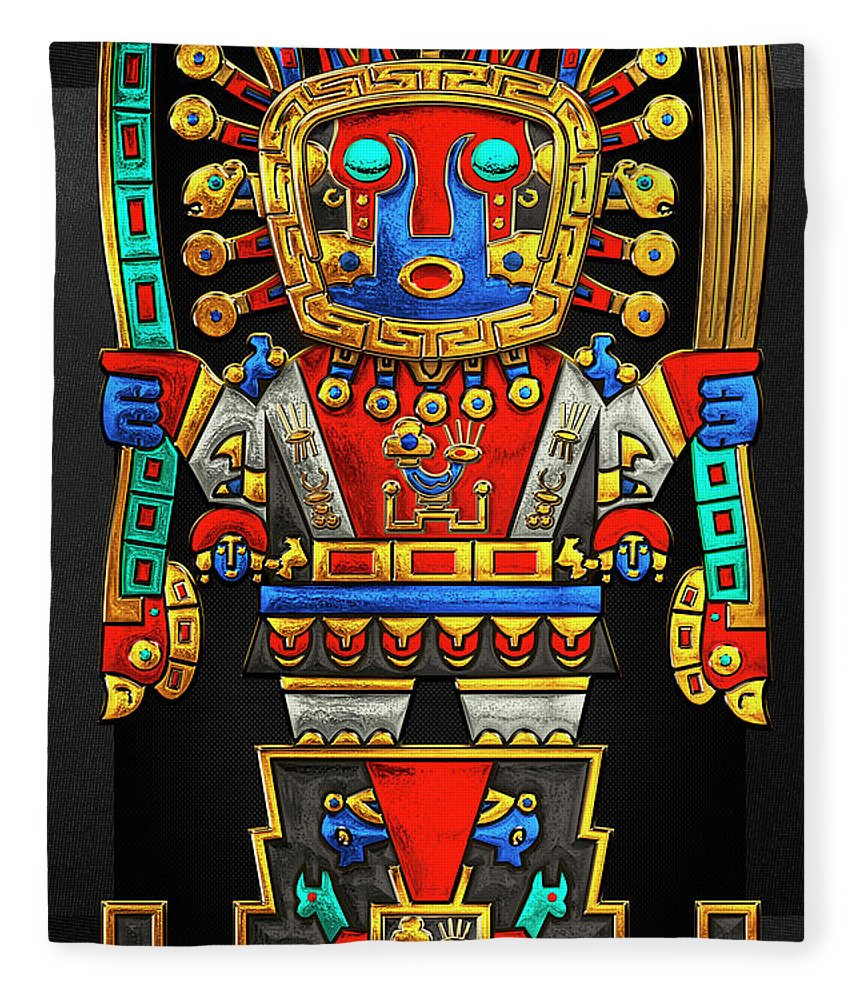 'treasures Of Pre-columbian America' Collection By Serge Averbukh Fleece Blanket featuring the photograph Incan Gods - The Great Creator Viracocha On Black Canvas by Serge Averbukh