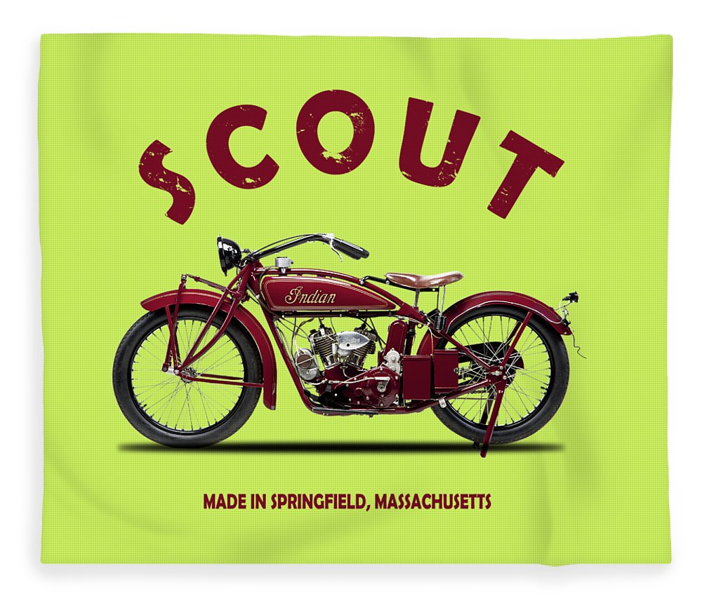 Indian Scout Fleece Blanket featuring the photograph The Scout 1924 by Mark Rogan
