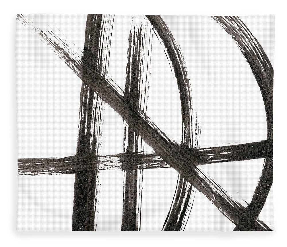 Abstract Fleece Blanket featuring the painting Linear Expression Viii by J. Holland
