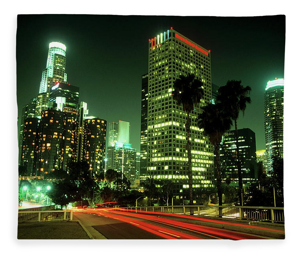 Downtown District Fleece Blanket featuring the photograph Los Angeles Skyline At Night by Hisham Ibrahim