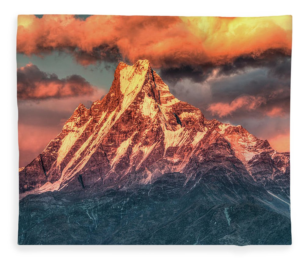 Tranquility Fleece Blanket featuring the photograph Machapuchare Mountain, Fish Tail In by Emad Aljumah