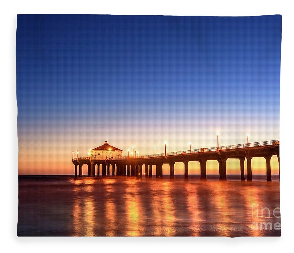 Manhattan Beach Pier At Sunset Los Angeles California Fleece Blanket For Sale By Stoycho Stoychev