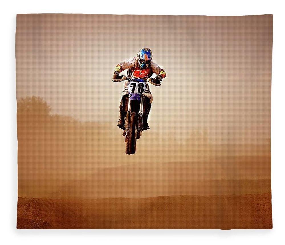 Crash Helmet Fleece Blanket featuring the photograph Motocross Rider by Design Pics