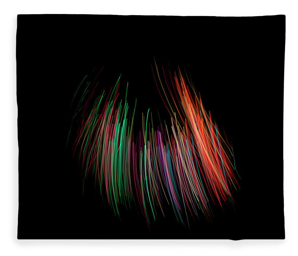 Black Background Fleece Blanket featuring the photograph Multi Colored Fiber Optic On Black by Michael Duva