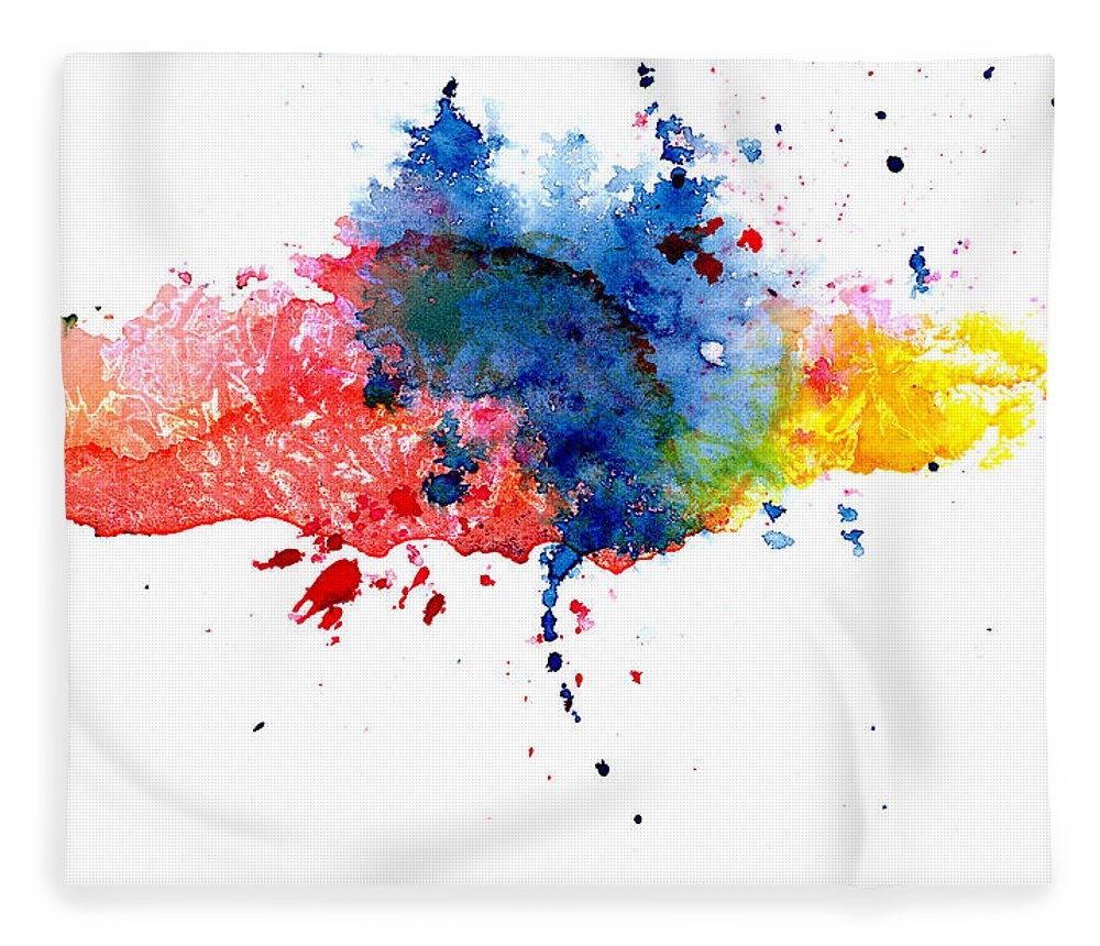 Watercolor Painting Fleece Blanket featuring the photograph Multicolored Splashes by Alenchi