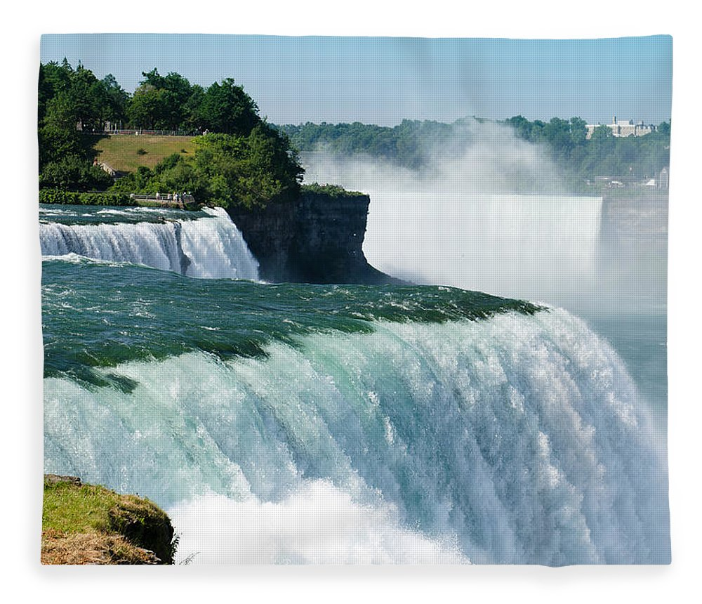 Scenics Fleece Blanket featuring the photograph Niagara Falls From The Usa Side by Franckreporter