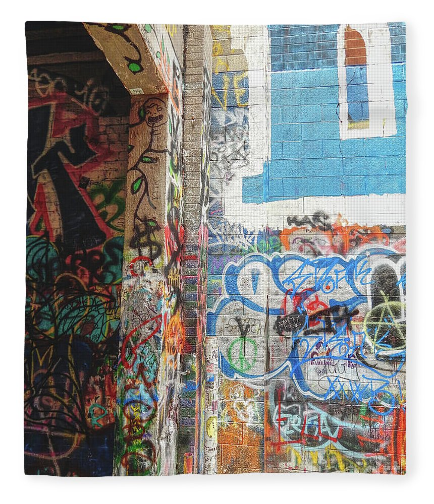 Graffiti Fleece Blanket featuring the photograph Painted Alley by Phil Perkins