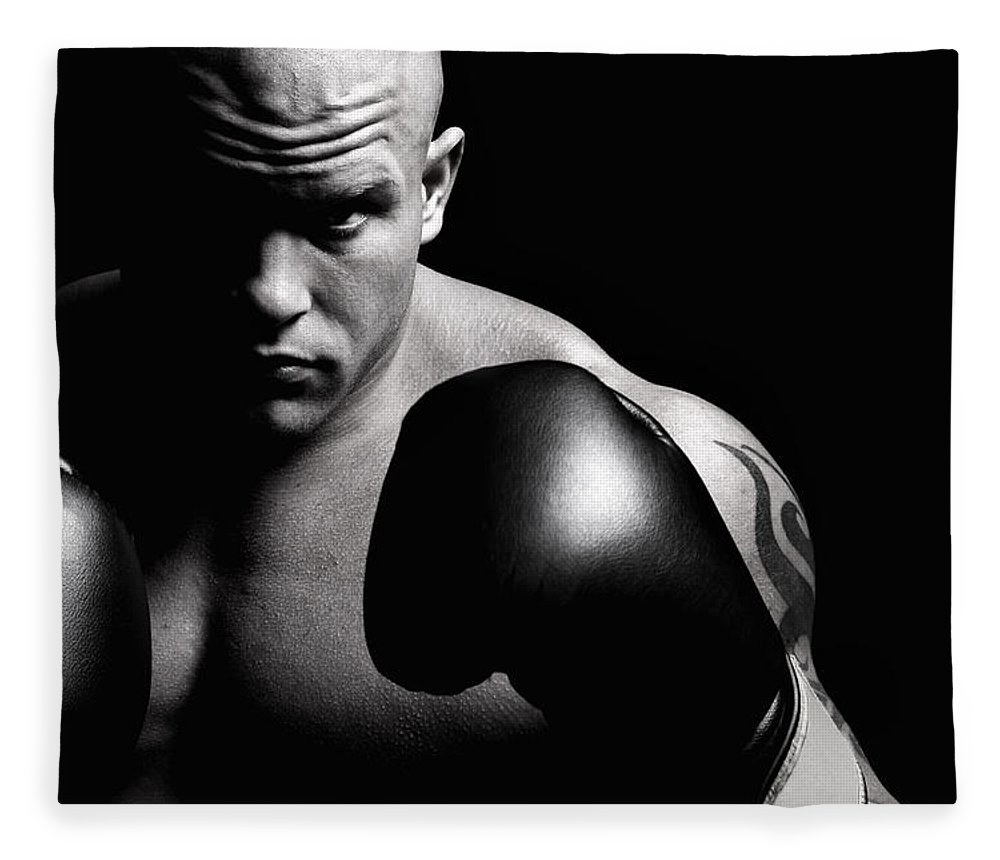 Toughness Fleece Blanket featuring the photograph Powerful Fighter Portrait by Vuk8691
