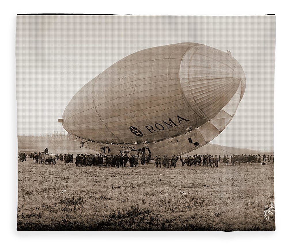Photography Fleece Blanket featuring the photograph Roma Dirigible At Bolling Field Air by Fred Schutz Collection