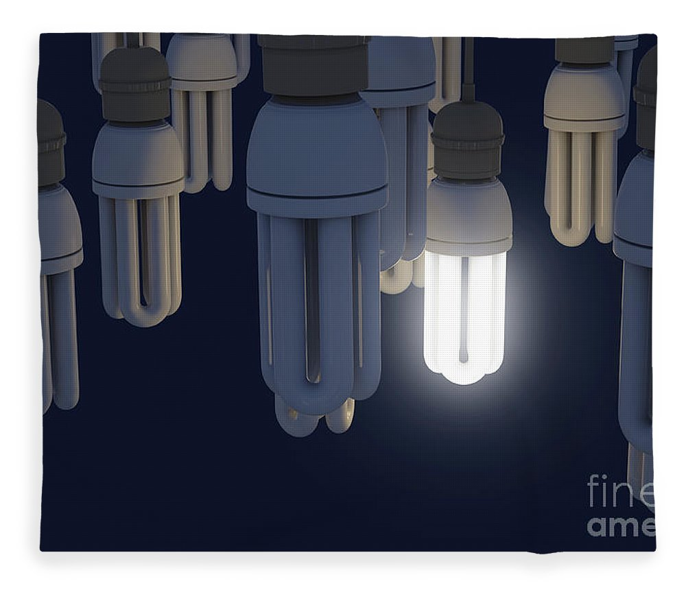 Light Fleece Blanket featuring the digital art Single Light Bulb Illuminated In Collection by Allan Swart