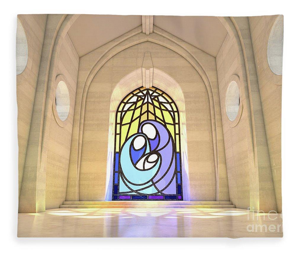 Nativity Fleece Blanket featuring the digital art Stained Glass Window Nativity Scene by Allan Swart