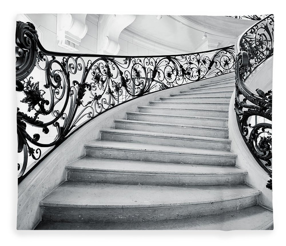 Steps Fleece Blanket featuring the photograph Staircase In Paris by Nikada