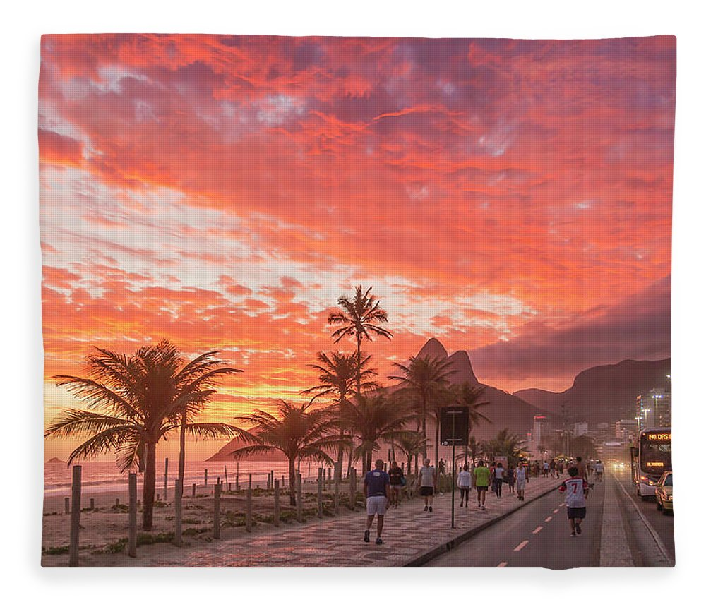 Majestic Fleece Blanket featuring the photograph Sunset Over Ipanema Beach by Buena Vista Images