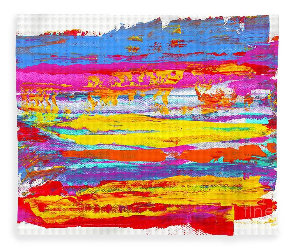 Sunrise Fleece Blanket featuring the painting Tequila Sunrise by Bjorn Sjogren
