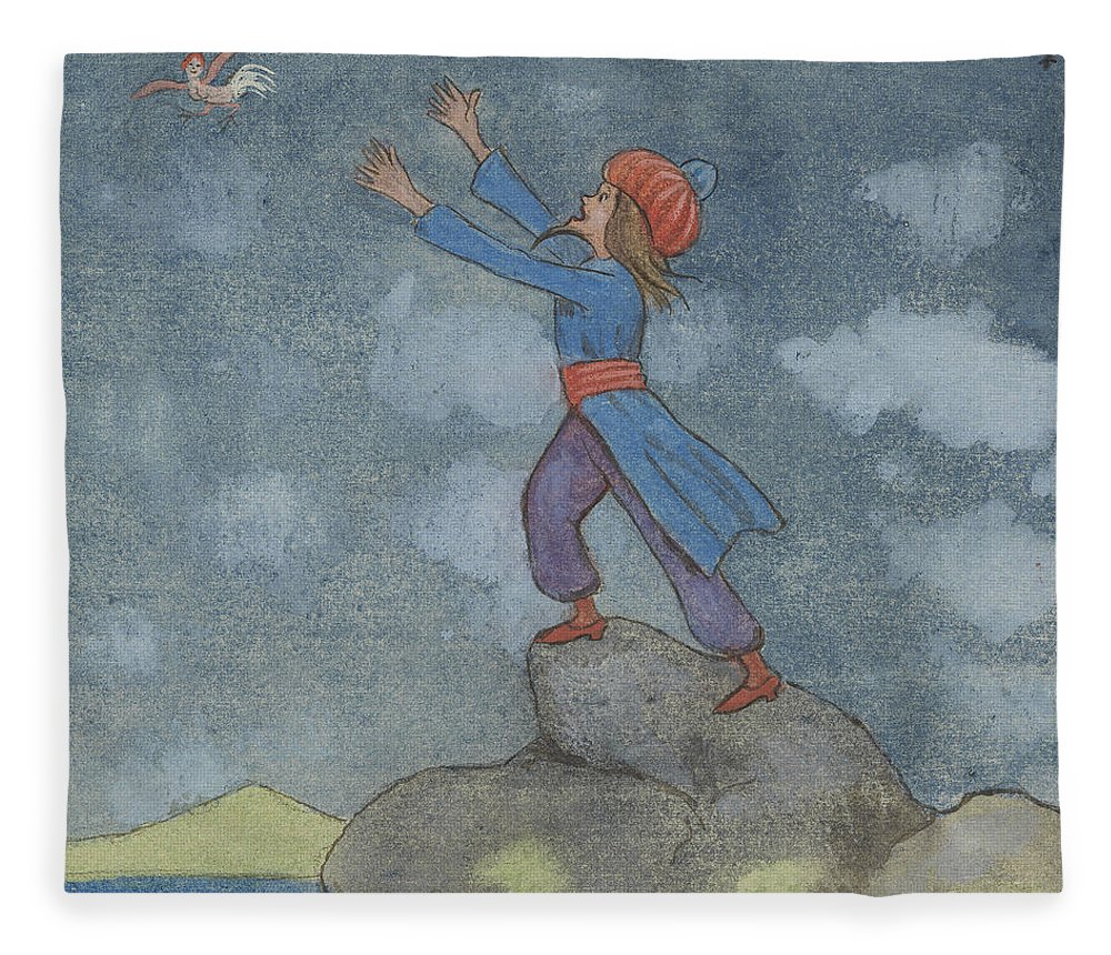 19th Century Art Fleece Blanket featuring the drawing The Story Of The Magician And The Wonderful Bird by Ivar Arosenius