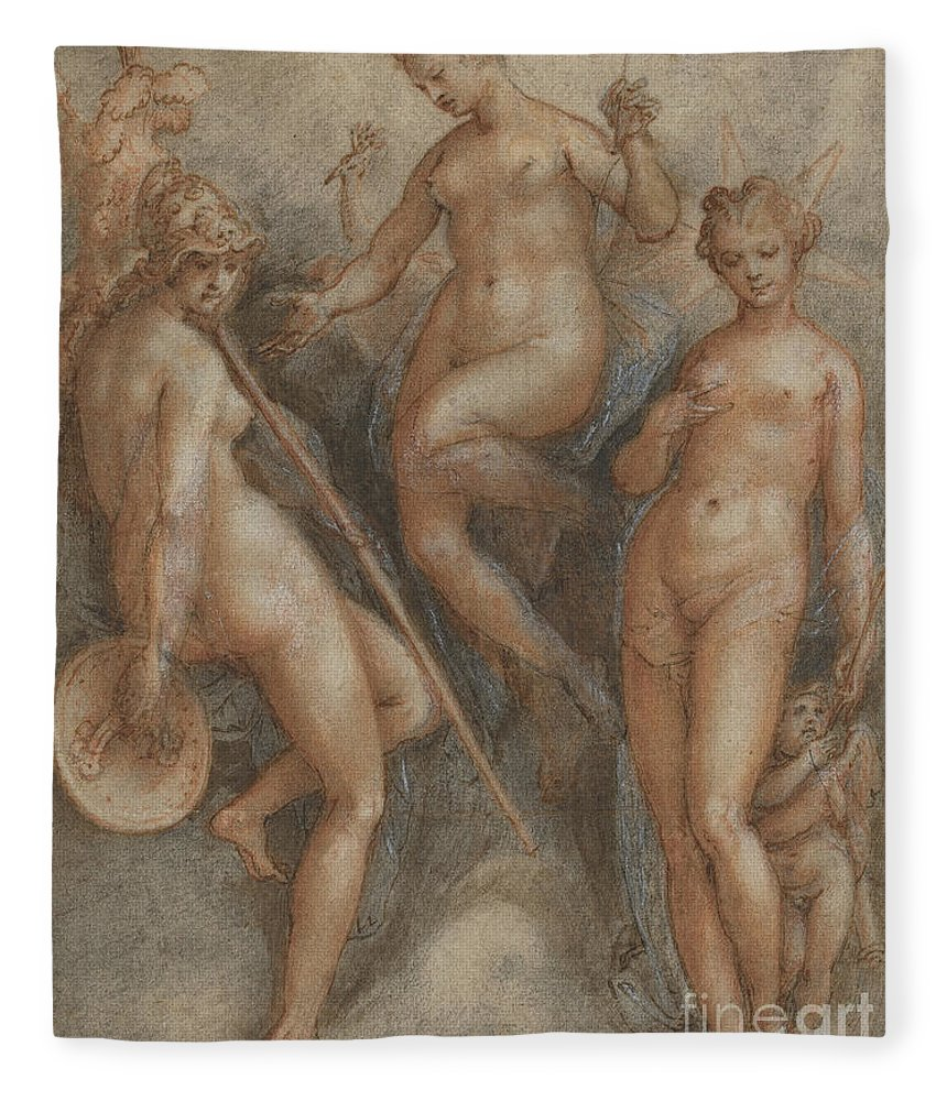 Mythology Fleece Blanket featuring the drawing Three Goddesses Minerva, Juno And Venus by Jan van der Straet