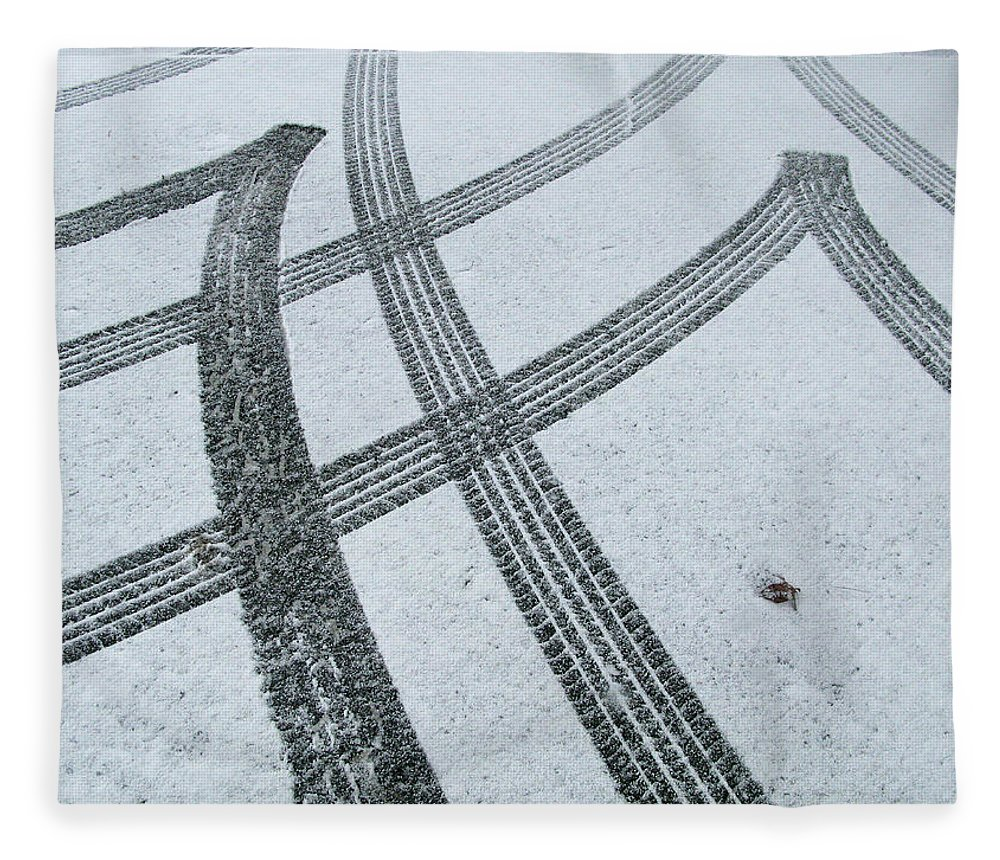 Black Color Fleece Blanket featuring the photograph Tire Tracks In Snow, Winter by Jerry Whaley