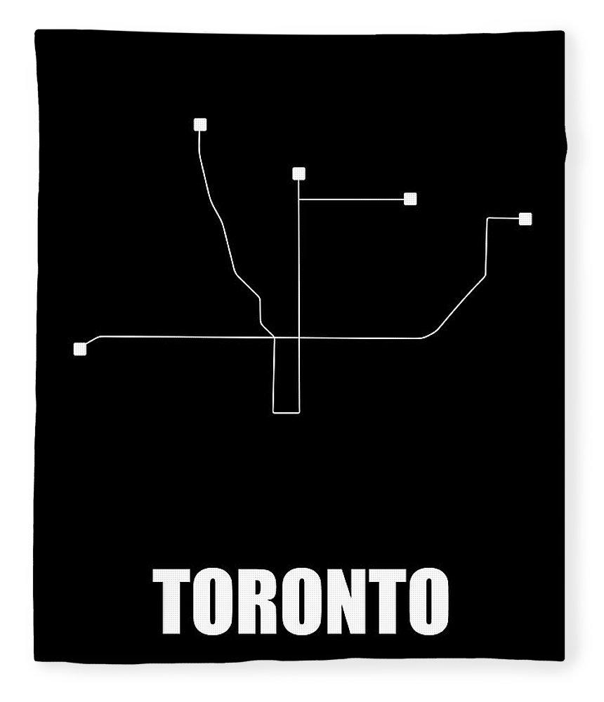 Toronto Fleece Blanket featuring the digital art Toronto Black Subway Map by Naxart Studio
