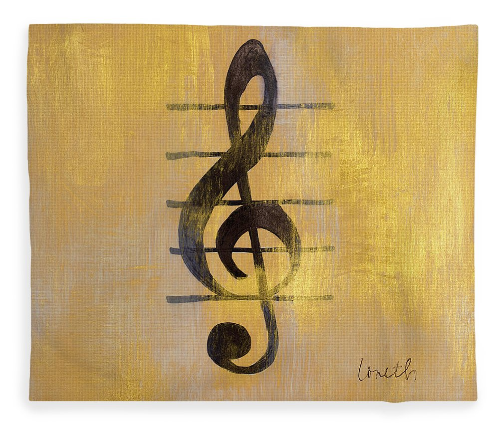 Treble Fleece Blanket featuring the painting Treble Clef by Lanie Loreth