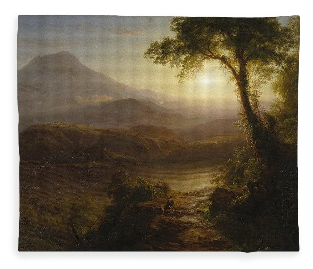 Tropical Scenery Fleece Blanket featuring the painting Tropical Scenery by Frederic Edwin Church