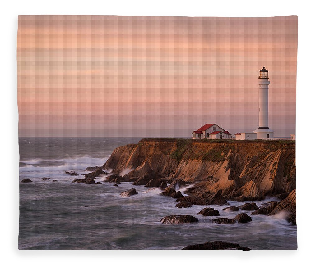 California Fleece Blanket featuring the photograph Usa, California, Point Arena by Gary Weathers