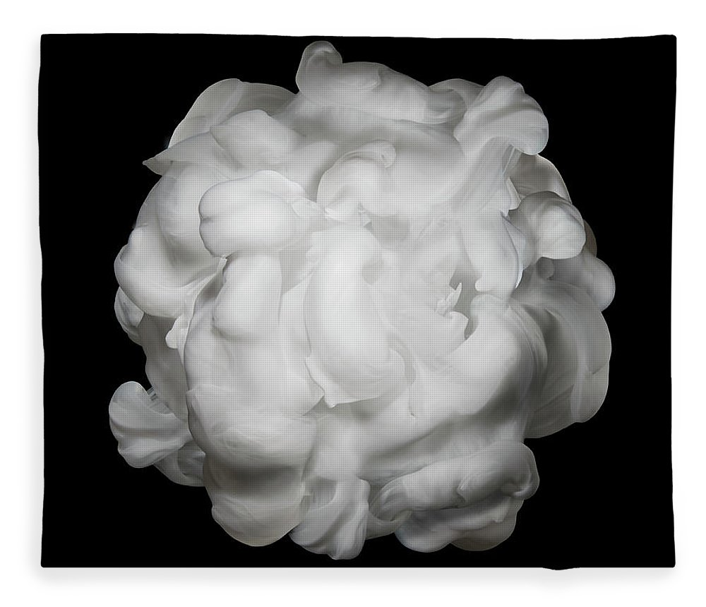 Dissolving Fleece Blanket featuring the photograph White Ink In Water On Black Background by Biwa Studio