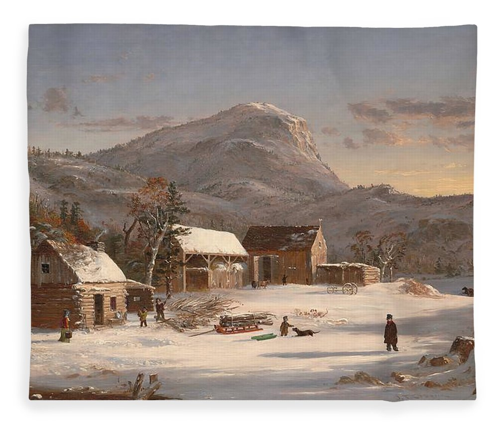 Jasper Francis Cropsey Fleece Blanket featuring the painting Winter Scene  Ramapo Valley    by Jasper Francis Cropsey