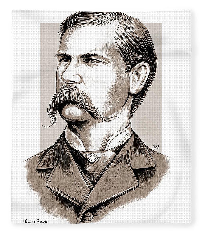 Wyatt Earp Fleece Blanket featuring the mixed media Wyatt Earp by Greg Joens