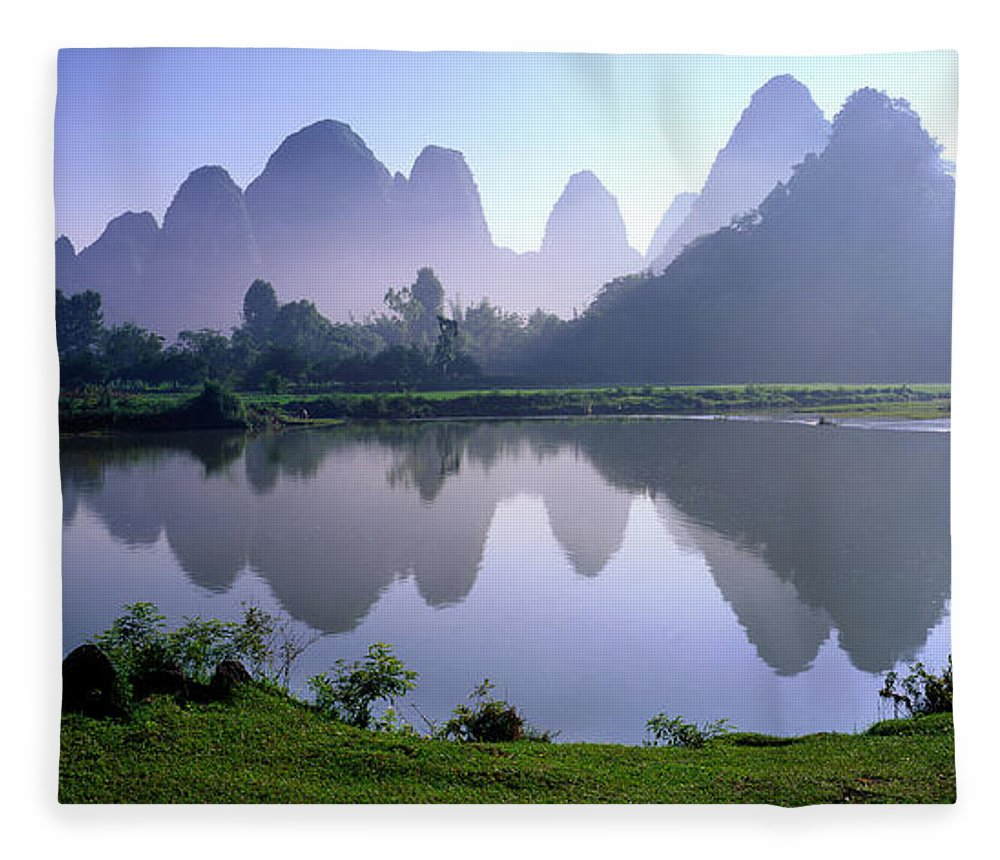 Chinese Culture Fleece Blanket featuring the photograph Yangshuo,guilin,guangxi,china by View Stock
