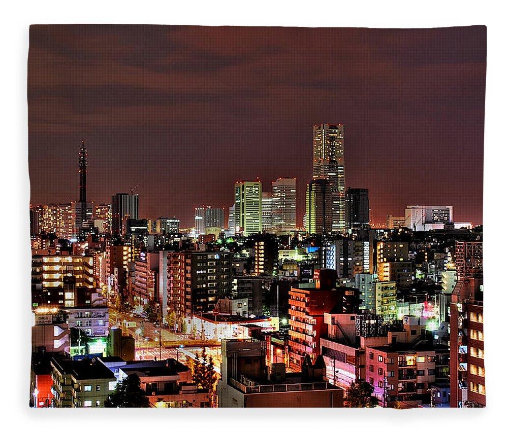 Tranquility Fleece Blanket featuring the photograph Yokohama Nightscape by Copyright Artem Vorobiev