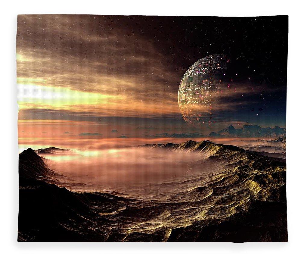 Concepts & Topics Fleece Blanket featuring the digital art Alien Planet, Artwork by Mehau Kulyk