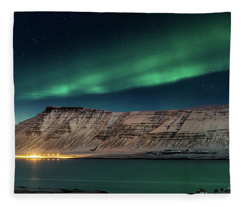Scenics Fleece Blanket featuring the photograph Aurora Borealis Or Northern Lights by Arctic-images