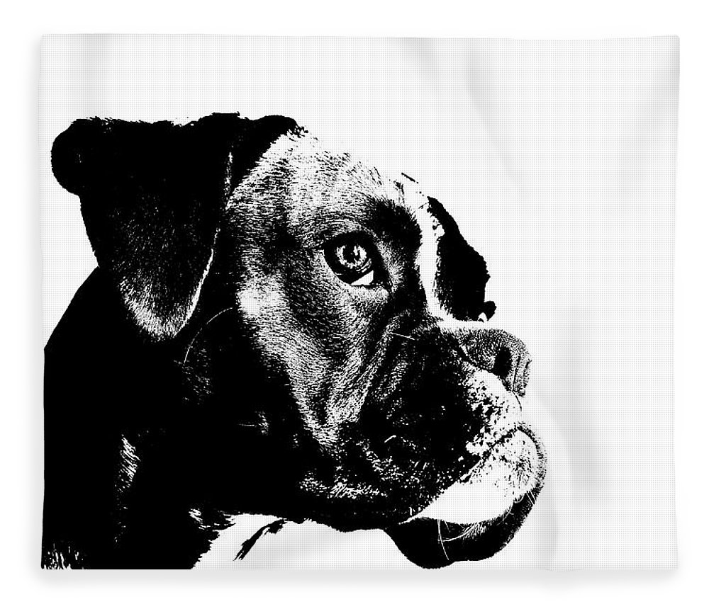 German Boxer Dog Fleece Blanket featuring the digital art German Boxer Dog by Jana Behr