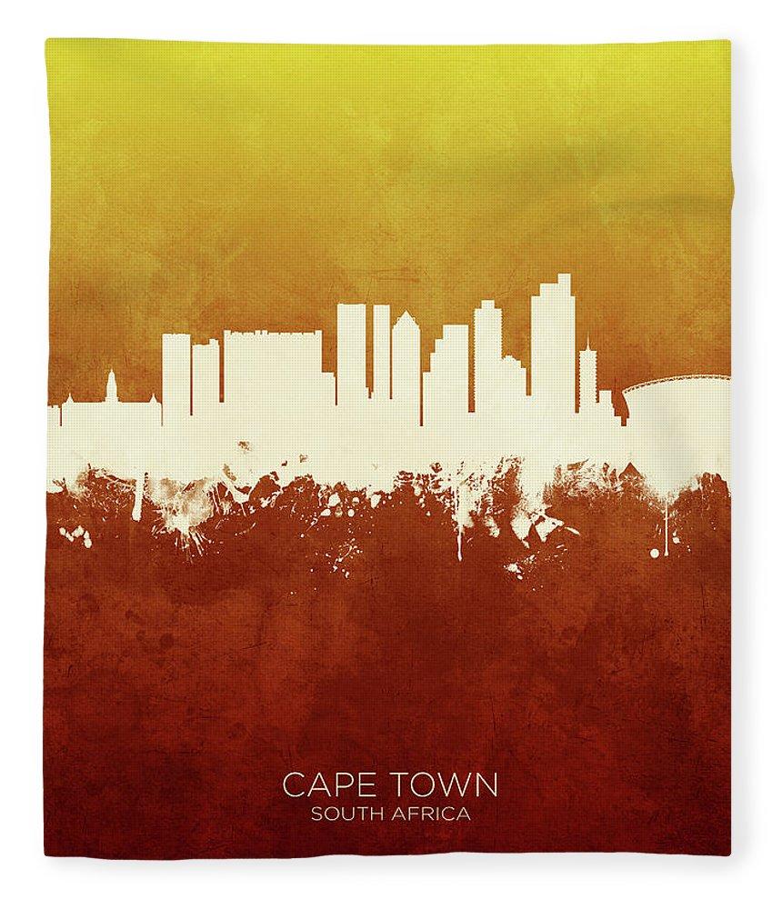 Cape Town Fleece Blanket featuring the digital art Cape Town South Africa Skyline by Michael Tompsett