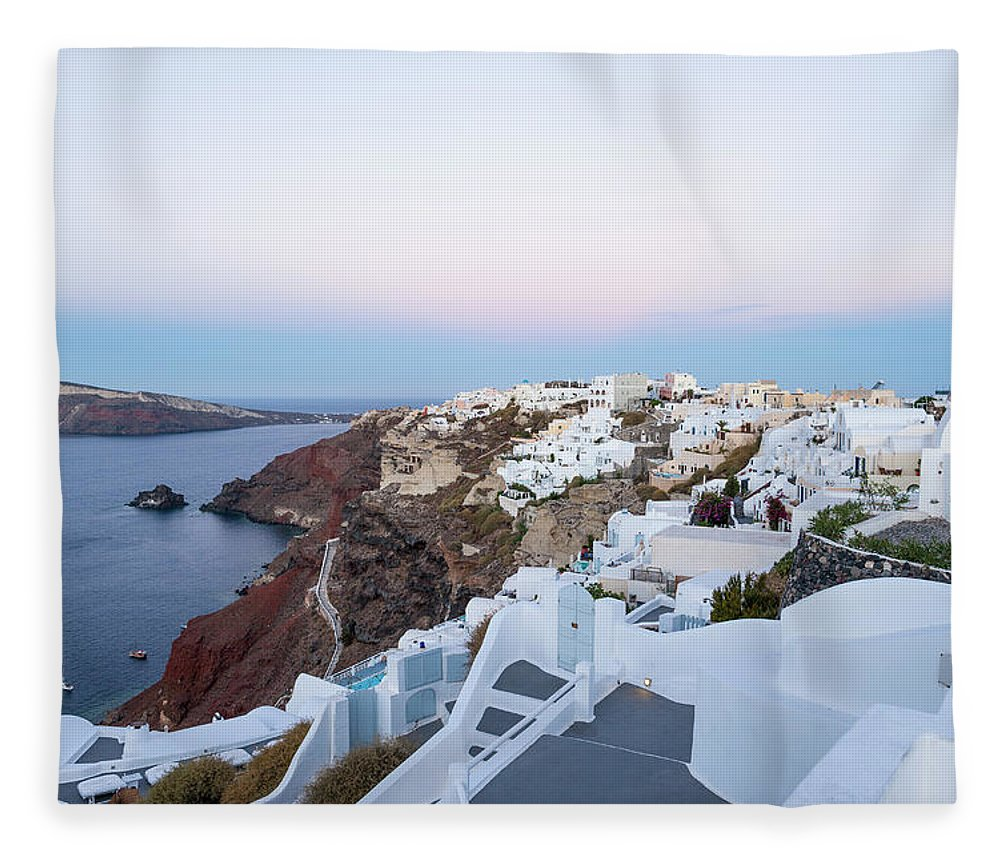 Tranquility Fleece Blanket featuring the photograph Santorini Greece by Neil Emmerson