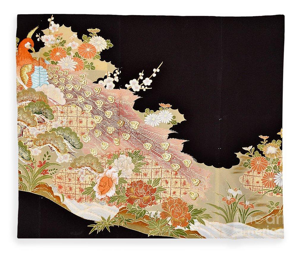 Fleece Blanket featuring the digital art Spirit of Japan T74 by Miho Kanamori