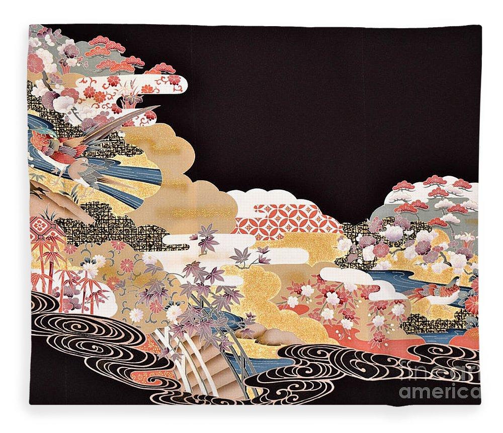 Fleece Blanket featuring the digital art Spirit of Japan T65 by Miho Kanamori