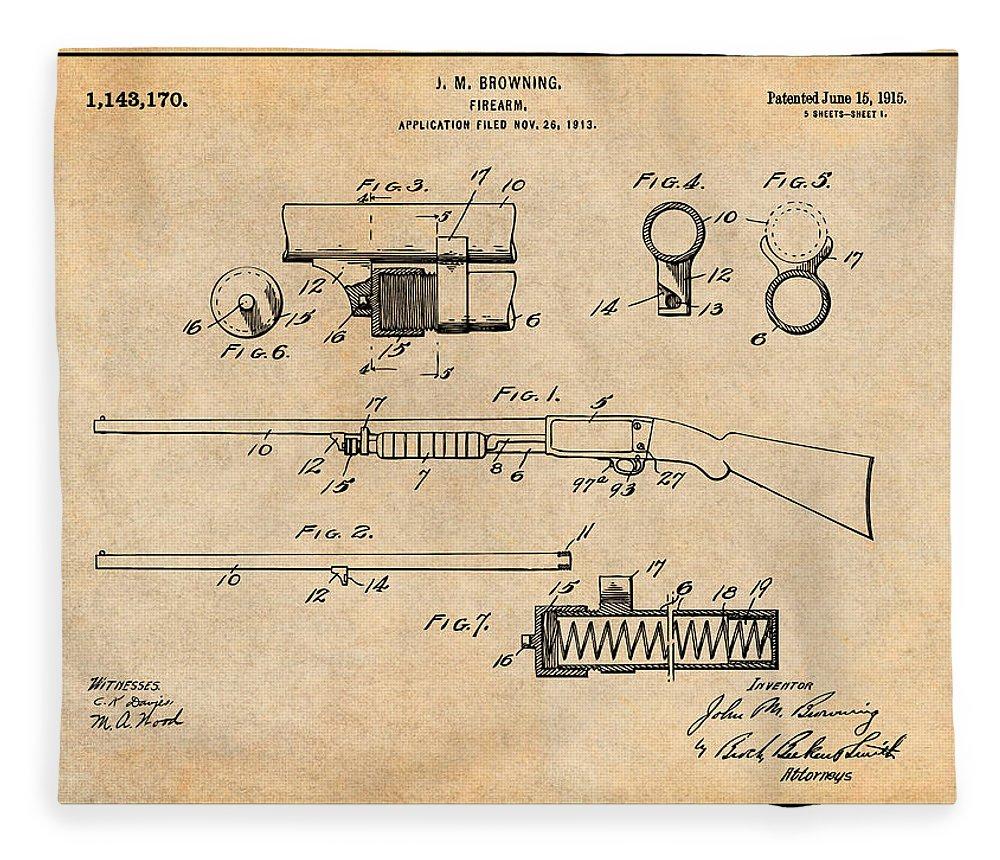 1913 Remington Model 17 Pump Shotgun Patent Print Fleece Blanket featuring the drawing 1913 Remington Model 17 Pump Shotgun Antique Paper Patent Print by Greg Edwards