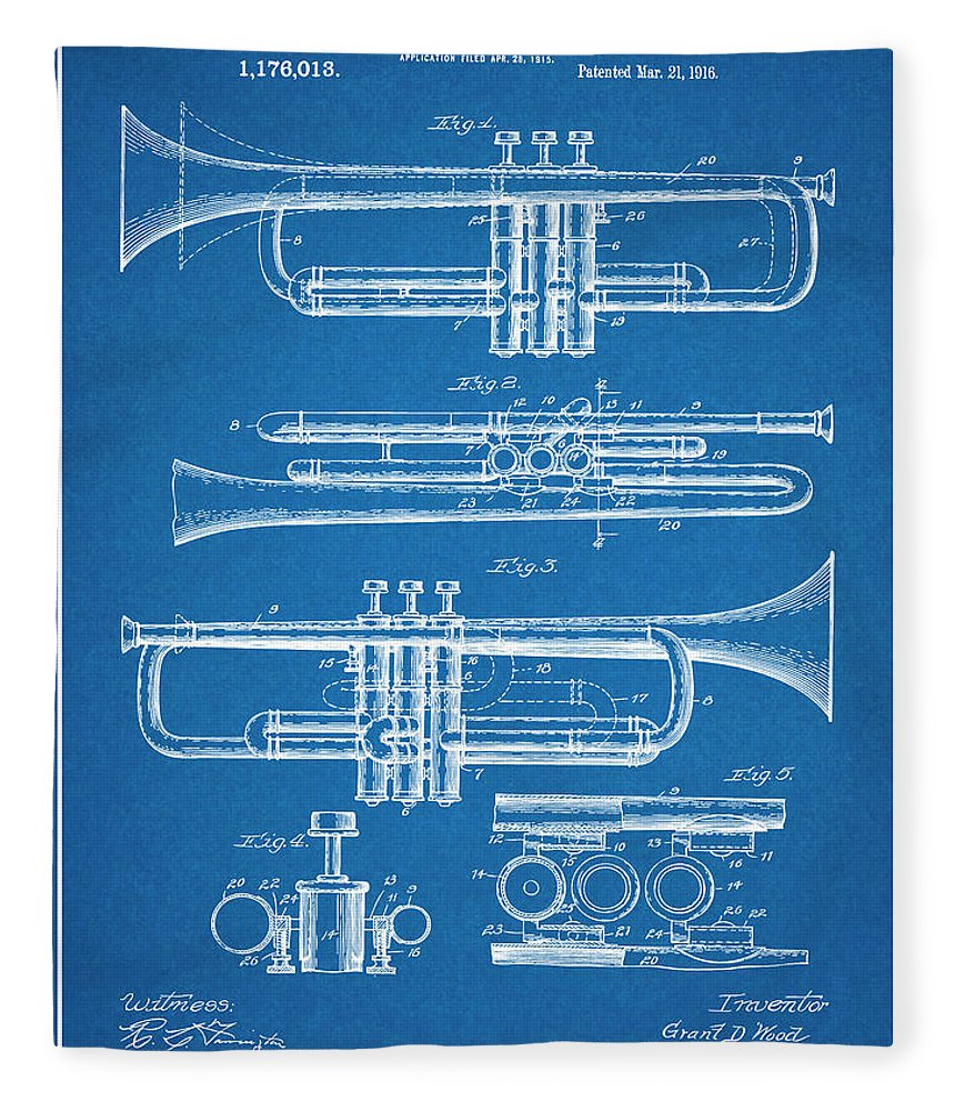 1916 Trumpet And Cornet Patent Print Fleece Blanket featuring the drawing 1916 Trumpet And Cornet Blueprint Patent Print by Greg Edwards