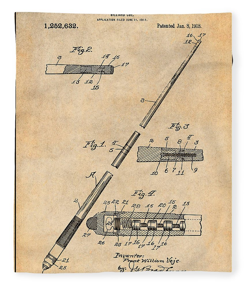 1917 Billiard Pool Cue Patent Print Fleece Blanket featuring the drawing 1917 Billiard Pool Cue Antique Paper Patent Print by Greg Edwards