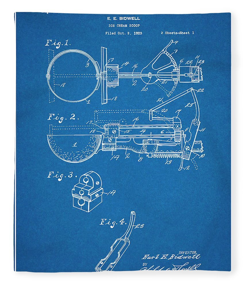 Art & Collectibles Fleece Blanket featuring the drawing 1924 Ice Cream Scoop Blueprint Patent Print by Greg Edwards