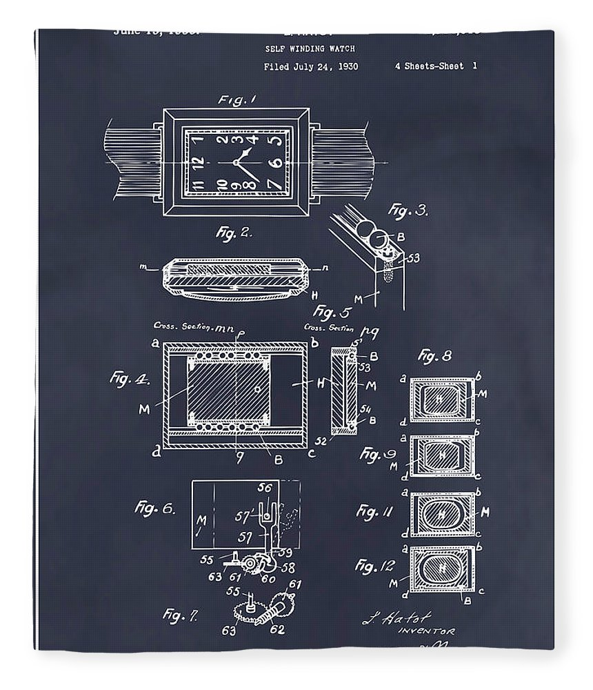 Art & Collectibles Fleece Blanket featuring the drawing 1930 Leon Hatot Self Winding Watch Patent Print Blackboard by Greg Edwards